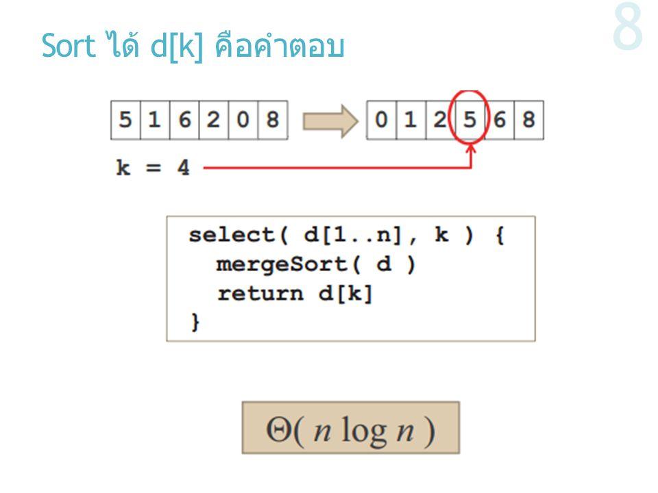 Sort ได้ d[k] คือคำตอบ
